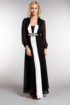 aaf5c7f880307 Robe longue en mousseline ivoire noir
