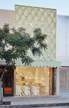 Ladurée Opens in Beverly Hills | Rue Showroom Design, Shop Interior Design, Retail Design, Cafe Interior, Facade Design, Exterior Design, Beverly Hills Cafe, Retail Facade, Jewelry Store Design