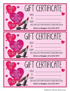 It's almost Valentines Day! Get your girl, your best friend, your mom, or whomever you love a gift certificate to Mary Kay! Senior Consultant: Rebecca Haughey rebecca519@live.missouristate.edu