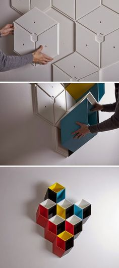 Wall storage solution that is geometric and easy to assemble http://offsomedesign.com/imeuble-storage-system/ Google+