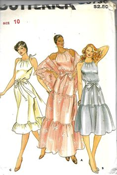 Butterick 3736 Misses/ Miss Petite halter Dress, Sash And Shawl Pattern, Size 10, UNCUT by DawnsDesignBoutique on Etsy