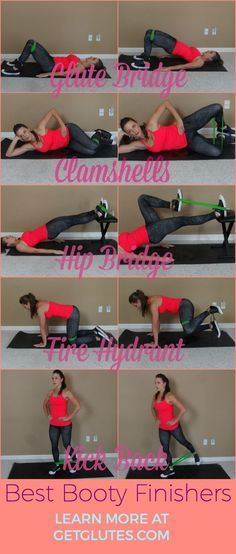 """Glute finishers are a great addition to any workout and an excellent way to add extra training stimulus to help build a beautiful booty without over-taxing your body. Try these finishers after your next strength training workout, as gluteal activators before your workout or even as a stand-alone """"Jane Fonda"""" style workout and you'll be on your way to a more curvy backside and stronger, more functional glutes. #getglutes.com #bestbootyworkout"""