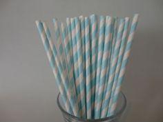 Light Blue Stripe Paper Straws
