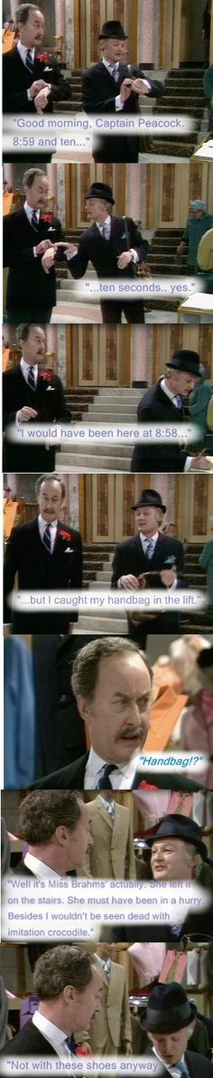 """Captain Peacock (Frank Thornton) and Mr Humphries (John Inman) chat about handbags. """"Our Figures Are Slipping"""", Are You Being Served? 1973"""
