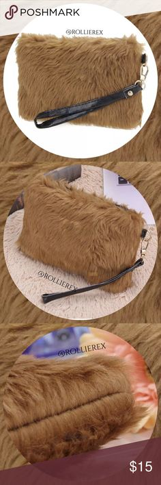 Brown Fur Bag ➰Material: Artificial Conny Woollen ➰Lining Material: Polyester cotton ➰Size: Approx. 130*200*30mm (5.11 x 7.87 x 1.18inch) ❌ No trades ➰Application: wristlet or Clutch Bag ➰Shape & size: as picture shown ➰Color: Brown Bags Clutches & Wristlets