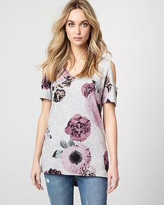 Floral Print Jersey Knit Cold Shoulder Top - Refresh your weekend style with this pretty-meets-cool cold shoulder tee, patterned with a fresh floral print.