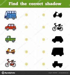 Afbeeldingsresultaten voor werkblad voertuigen schaduw Ride On Toys, Homeschooling, Creative, Crowns, Homeschool