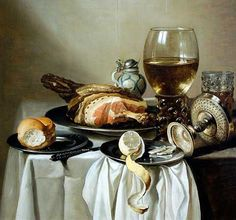 For the kitchen - or dining room - A classic 17th Century Dutch Still Life painting, such as this breakfast spread by Pieter Claesz