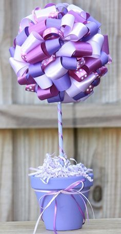 Perfect for Tangled Birthday Party Wedding Table Centerpieces, Baby Shower Centerpieces, Wedding Decorations, Baby Shower Parties, Baby Shower Themes, Shower Ideas, Ribbon Topiary, Lila Party, Tangled Party