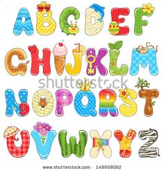 Colorful children alphabet spelled out with different fun cartoon. by Nikiparonak, via Shutterstock