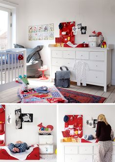 Baby room that can easily be adapted for when they get older! Love the reds and textures.