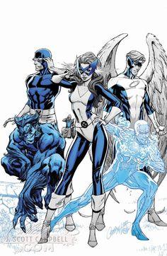 X-Men: Beast, Cyclops, Marvel Girl, Angel and Iceman Arte Dc Comics, Marvel Comics Art, Marvel X, Iceman Marvel, Marvel Heroes, Comic Book Artists, Comic Artist, Comic Books Art, J. Scott Campbell