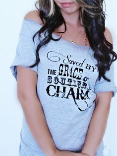 FREE SHIPPING- Saved By The Grace of Southern Charm, Country Girl Shirt, Off Shoulder Shirt, Slouchy Shirt, Country Girl (women, teen girls)...