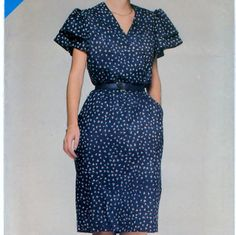 Misses Dress Size A (8. 10. 12) B(31.5 - 32.5 - 34) Butterick See and Sew 5287  #sharpharmade
