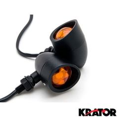 Krator® Motorcycle 2 pcs Black Amber Turn Signals Lights For Harley Davidson XL Sportster 1200 Custom