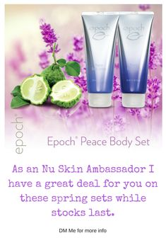 Need some new skin care products this spring? I have a great deal on limited edition epoch peace body sets which will be available from the 16th-30th April while stocks last! DM me on Instagram using the link to pre order yours now! #beauty #skincare #beautyblogger