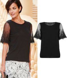 """Lace Sleeve Sweater - """"The delicate lace sleeves on this top offer an instant air of elegance whilst only showing a tiny hint of flesh. Try it with dark jeans for a daytime look or team it with this skirt for something special, all for UNDER 50 POUNDS!"""" - Mark Heyes"""