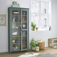 Alvina solid pine dresser cabinet , green eucalyptus, La Redoute Interieurs | La Redoute Tempered Glass Door, Tempered Glass Shelves, Home Furnishing Accessories, Home Furnishings, Vaisseliers Vintage, Furniture Makeover, Home Furniture, Dresser Makeovers, Furniture Design