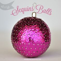 DIY Sequin Ornaments Probably wouldn't make these to sell but they would be cute on my mini christmas tree! Easy To Make Christmas Ornaments, Cute Christmas Tree, Noel Christmas, Pink Christmas, Diy Christmas Ornaments, Baby Crafts, Christmas Balls, Christmas Projects, Holiday Crafts