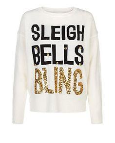 White Sleigh Bells Bling Christmas Jumper | New Look
