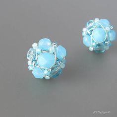 RTDesign / Napichovačky BLUE OPAL Beaded Jewelry, Jewellery, Blue Opal, Beading, Shabby, Stud Earrings, Handmade, Beautiful, Tatoo