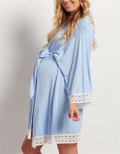 Maternity Nightwear, Maternity Nursing Pajamas, Blue Maternity Dress, Maternity Fashion, Maternity Style, Breastfeeding Clothes, Long Sleeve Pyjamas, Night Gown, Dress Long