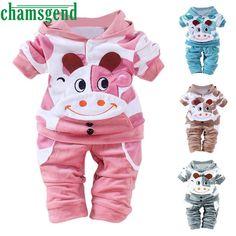 f11d95b901a1 Children set clothing Clothing Set Warm Newborn Baby Girls Boys Cartoon Cow  Warm Outfits Clothes Velvet
