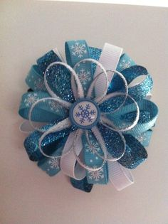 Elsa frozen inspired Snowflake Hairbow