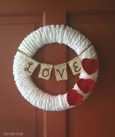Valentine's Day Love Wreath-Coco and Cocoa #valentine #wreath