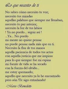 Lo que necesito de ti. Mario Benedetti.