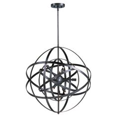 Chandelier with an armillary-inspired frame and bronze finish.  Product: PendantConstruction Material: Metal