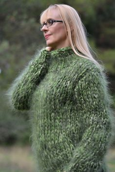 DUKYANA Hand Knitted Mohair Sweater New Thick One Size Jumper CHUNKY Pullover L #Dukyana #TurtleneckMock