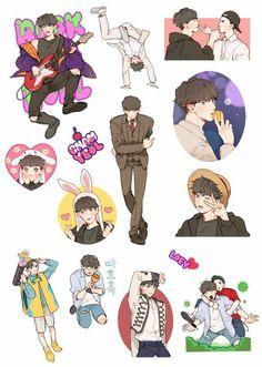 #HappyChanyeolDay #EXO PCY ©tomtom_exo Exo Stickers, Band Stickers, Cute Stickers, Exo Anime, Anime Chibi, Anime Art, Exo Fan Art, Kawaii Doodles, New Sticker