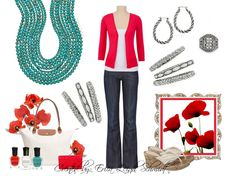 """Looking for a bold pop of color? Have you tried turquoise against red?? Gorgeous!! Introducing: """"Acapulco"""" necklace, """"Arrow"""" bracelets (x2) """"Simple Twist"""" earrings, and """"Jada"""" ring. #pdstyle"""