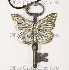 Antique Rustic Butterfly Skeleton Key