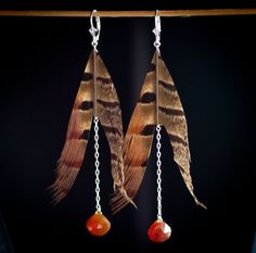 Pheasant feathers and carnelian
