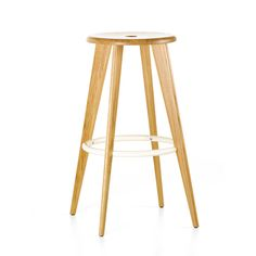 TABOURET HAUT STOOL BY JEAN PROUVE  | Materials Legs and seat in solid oak, natural or stained dark with natural wood lacquer finish, footrest in tubular steel, powder-coated or chromed finish anti-skid surface.   | Dimensions Height 775 x Width 602 x Width 602 mm