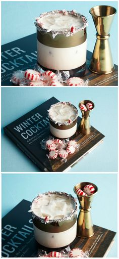 Our fave winter cocktail: White Russians with a Peppermint rim!