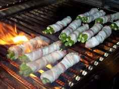 Bacon wrapped asparagus! Wrap one slice of bacon around 3 - 4 asparagus. Add a toothpick to each bundle so the bacon won't unravel on the grill