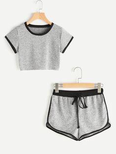 Shop Ringer Crop Tee With Contrast Dolphin Hem Shorts online. SheIn offers Ringer Crop Tee With Contrast Dolphin Hem Shorts & more to fit your fashionable needs.