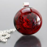 Collar exclusivo Rosa roja natural plata 925