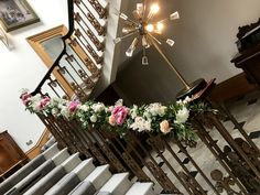 Staircase at Haigh Hall dressed with stunning everlasting florals. Civil Ceremony, Bridal Flowers, Floral Wedding, Ladder Decor, Florals, Floral Design, Wreaths, Beautiful, Home Decor