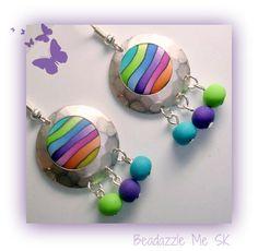 BeadazzleMe Rainbow Hammered Silver-Tone  Earrings. $10.00, via Etsy.