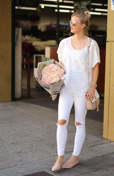 white on white outfit at the LA flower market