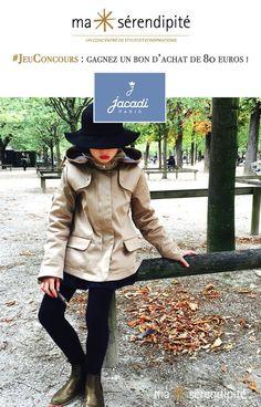 Jacadi revisite ses emblématiques manteaux classiques pour une allure plus actuelle sans renier pour autant son élégance à la française, chère à la marque. À cette occasion, Jacadi s'associe à Ma Sérendipité pour célébrer la belle saison d'hiver avec un jeu-concours pour vous faire gagner un bon d'achat de 80 euros !... #Jacadi et #MaSérendipité