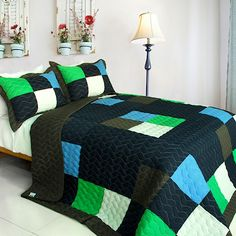 Minecraft Style Teen Boy Bedding Full/Queen Quilt Set Black Green Blue Large Colorblock Patchwork