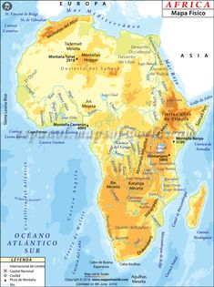 The physical map of Africa depicts various geographical features of the continent such as mountains, deserts, rivers, lakes, plateaus. Mt Kilimanjaro is the highest peak of the continent and Sahara desert is the world's largest desert. Map Worksheets, Social Studies Worksheets, Geography Map, World Geography, Geography Lessons, Physical Geography, Somali, Clima Da Africa, Desert Map