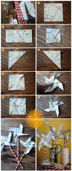DIY Ways to Craft with Old Maps – Listing More Create this easy DIY pinwheel centerpiece with old maps and a classic mason jar for a simple yet whimsical display. It is super fun and easy to make in about 15 minutes! Cute for graduation party decor! Pinwheel Centerpiece, Diy For Kids, Crafts For Kids, Diy Pinwheel, Pinwheel Tutorial, Origami, Map Crafts, Going Away Parties, Karten Diy