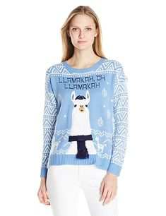 Blizzard Bay Women's Llamahah, Oh Llamakah Chanukah Ugly Christmas Sweater, Light Blue, L