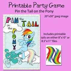 My Little Pony Rainbow Dash Printable DIY Pin the Tail on the Pony Game by onelovedesignsllc, $12.50